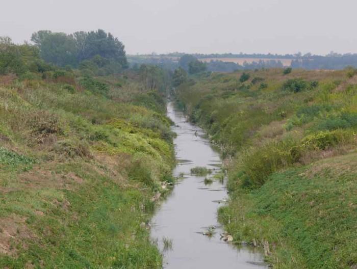 A kis folyó mintegy búcsút intve tűnik el a bokrok közt